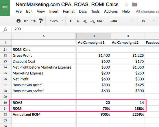 ROMI spreadsheet