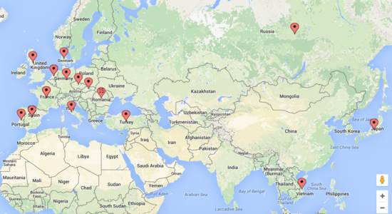 A screenshot of a map of Europe showing pins where DesktopServer is utilized by other WordPress developers.