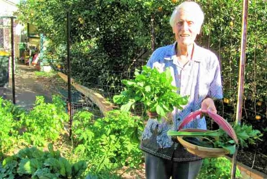 The Micro Gardener garden coaching - client with an abundant harvest