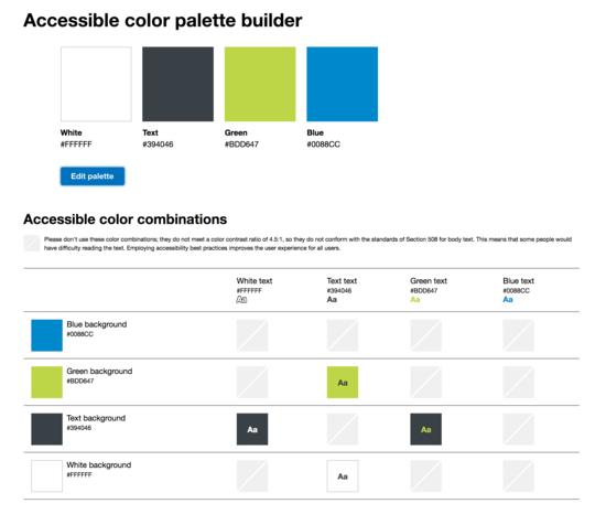 Accessible color palette builder