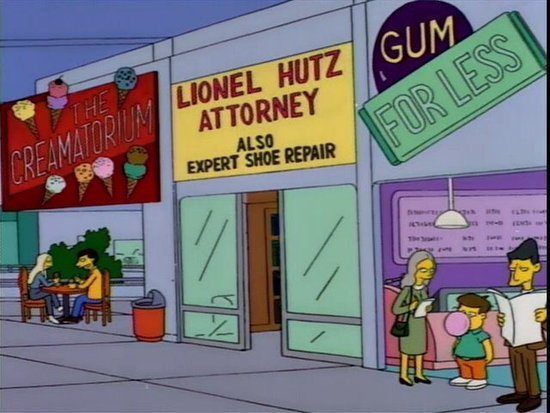 lionel hutz, attorney and also expert shoe repair